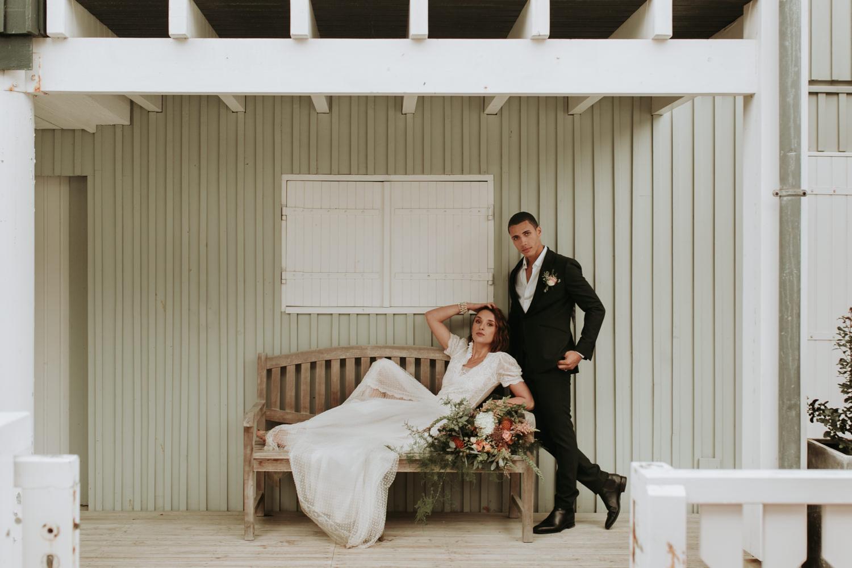 photo mariage bohème au bord de l'océan bassin d'Arcachon