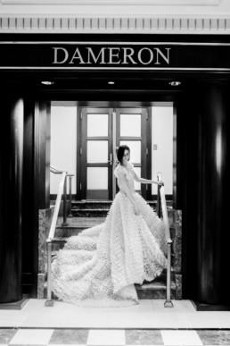 robe de mariage à traine en mousseline. Robe de mariée princesse pour mariage vintage à new york