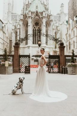 mariée dans la cour d'un palace avec un chien dalmatien a new york devant la cathédrale saint patrick de manhattan