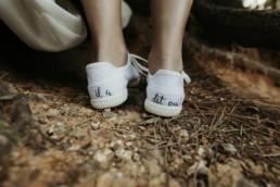 chaussures de mariée basket avec message customisé il a dit oui
